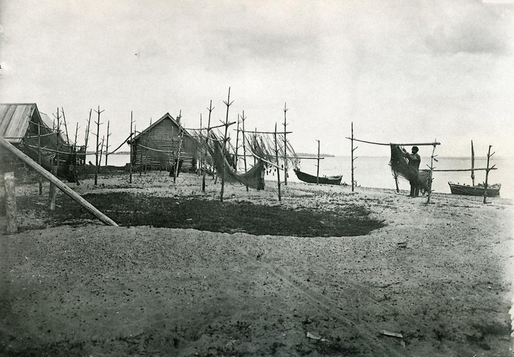 Séchage des filets de pêche.