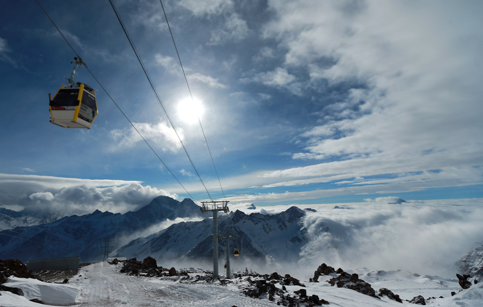A new cable car on Mount Elbrus, in the Caucasus Mountains. Phase 3 of the new cable car, the highest in Europe, has been put into operation. The facility is part of the Elbrus all-season outdoor activities and recreation resort.