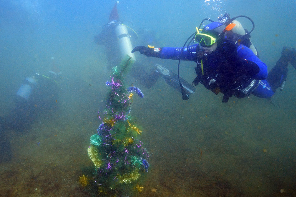 Divers install a Christmas tree at the bottom of Shchitovaya Bay.