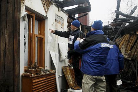 Des observateurs de l'OSCE dans la République autoproclamée de Donetsk.
