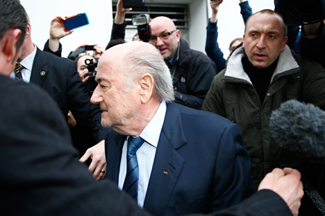 FIFA's suspended president Sepp Blatter leaves after a news conference in Zurich, Switzerland, Dec. 21, 2015.