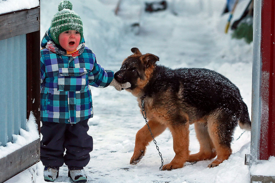 Russia. Khanty-Mansiysk. Child and dog on the streets of the city.