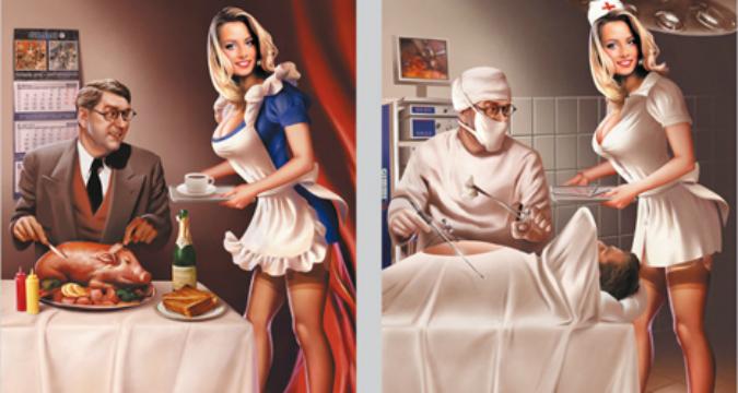 Руският илюстратор Валерий Барикин успешно съчетава старомодните еротични ретро модели (Pin Up Girls) със съветската пропаганда в изкуството.