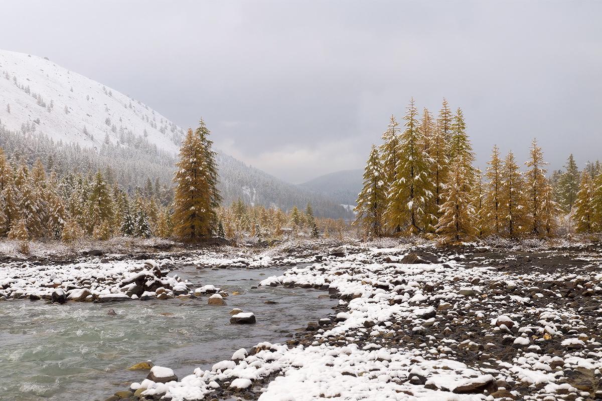 Тези места обаче не са пренаселени туристически капани, а през зимата до тях се стига трудно и изглеждат доста пусти. / Алтай, долината на р. Актру.