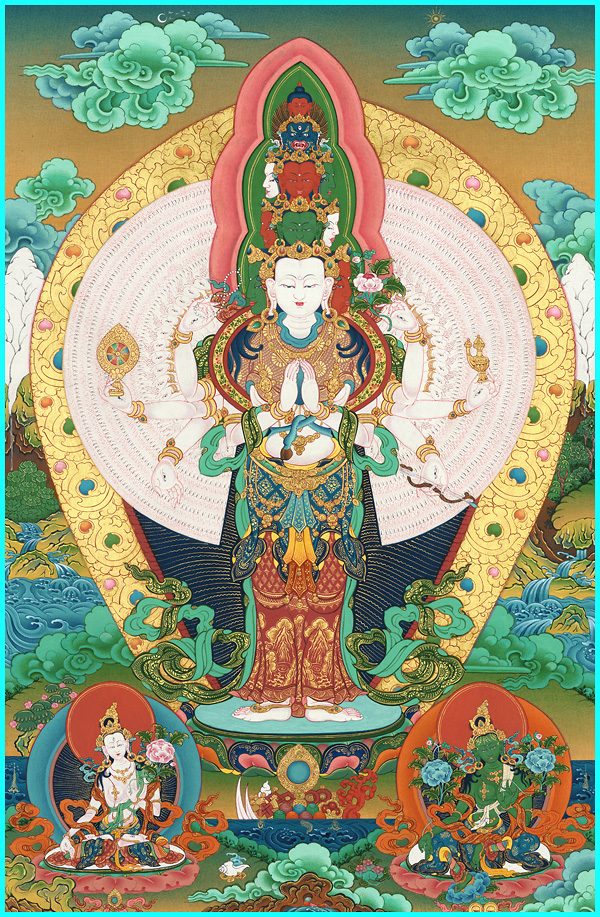 1000 armed Avalokiteshvara,White and Green Taras