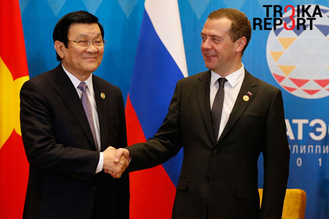 Prime Minister Dmitry Medvedev at a meeting with Truong Tan Sang, President of the Socialist Republic of Vietnam, on the sidelines of the APEC Leaders' Meeting.