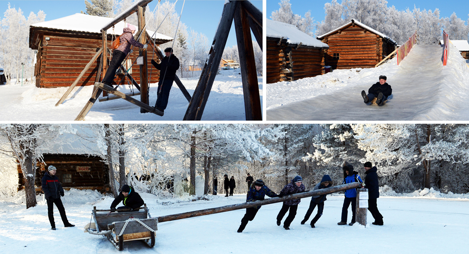 Bersenang-senang di Musim Dingin. Warga bermain di kawasan Taltsy, Rabu (24/12/14). Bagi masyarakat Siberia, musim dingin adalah waktunya bersenang-senang. Oleh karena itu, kedatanganya sangat ditunggu-tunggu. Beberapa permainan yang dapat dinikmati saat musim dingin di antaranya ski, seluncur es dan gerobak dorong.