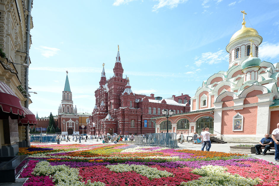 Openning of the flower festival in the Red Square near the main Moscow's department store GUM
