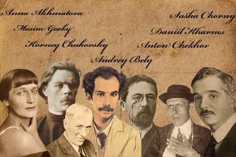 Pictured L-R: Anna Akhmatova, Maxim Gorky,  Korney Chukovsky, Andrey Bely, Anton Chekhov, Daniil Kharms, Sasha Chorny.