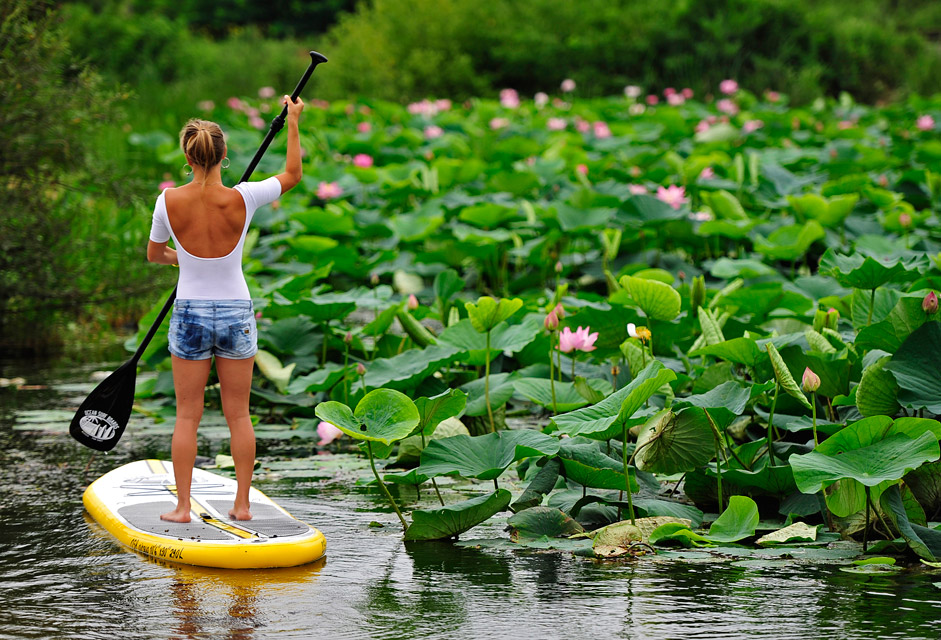 A girl surfing SUP at lake Karasinoye in Primorsky Krai on Aug. 8, 2015.