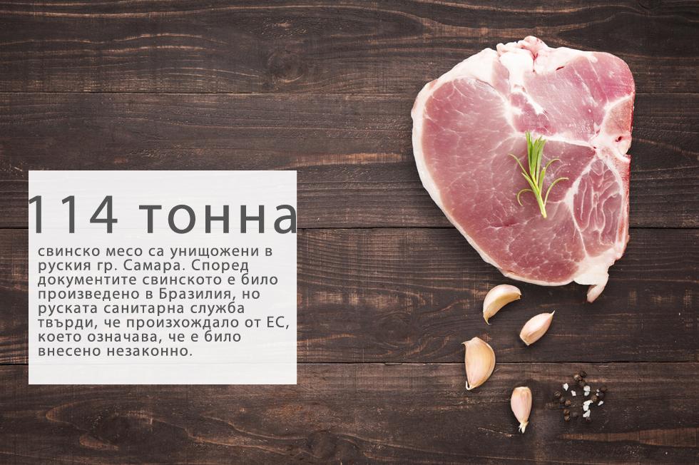 """Пратката е конфискувана през април 2015 година. Според документите свинското месо било произведено в Бразилия, но инспекторите твърдят, че е с произход от ЕС, което означава, че е незаконно – в момента в Русия вносът на храни от ЕС е забранен. """"Бразилия впоследствие не потвърди автентичността на сертификатите"""", заяви говорителят на руската Федерална ветеринарна и фитосанитарна надзорна служба (Росселхознадзор) Юлия Мелано, която не посочи как точно е унищожена храната. """"Росселхознадзор и по-рано е унищожавал продукти, влезли в страната нелегално, а от 6 август това ще се случва и на границата"""", допълни тя."""