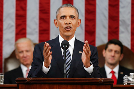 Barack Obama delivers his State of the Union address to a joint session of Congress on Capitol Hill in Washington, DC, January 12, 2016.