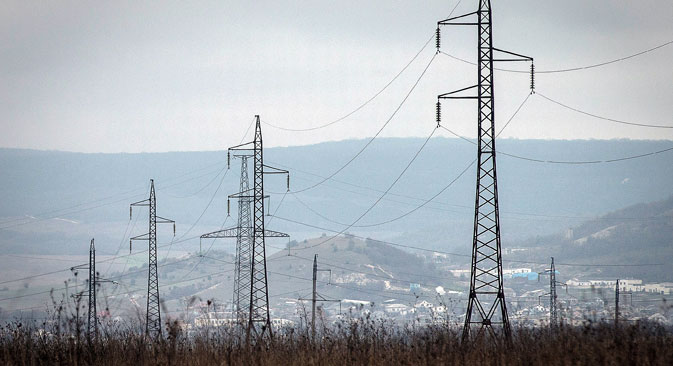 An electric power transmission line in Crimea.