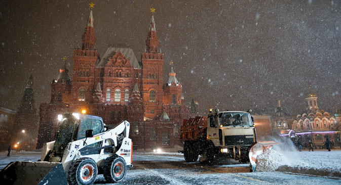 snow on Red Square