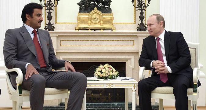 Russian President Vladimir Putin and Qatari Emir Tamim bin Hamad Al Thani.