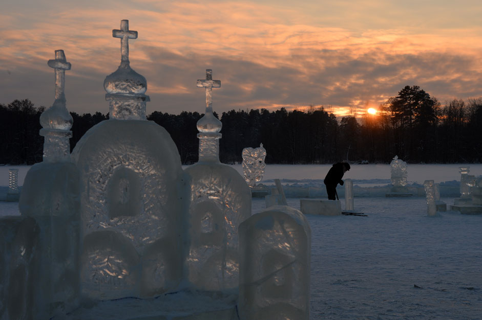 An ice city on the ice of the Raifa Lake not far from the Raifa Bogoroditsky Monastery in Zelenodolsky District of the Republic of Tatarstan.
