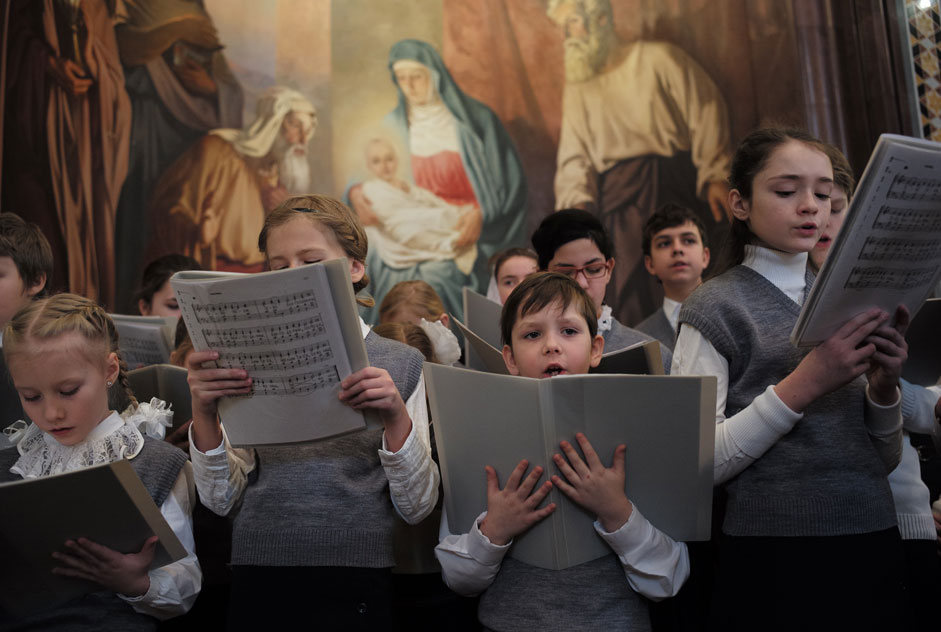 The united children's choir of the churches of Moscow and the Moscow Region during a divine liturgy at the Christ the Savior Cathedral, Moscow.