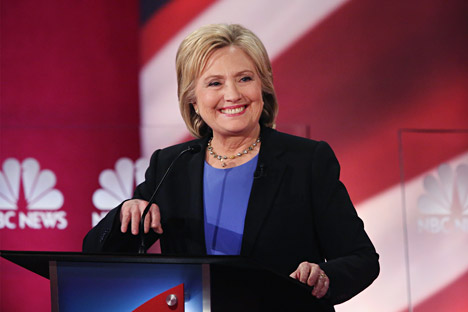 Democratic presidential candidate Hillary Clinton participates in the Democratic Candidates Debate on January 17, 2016 in Charleston, South Carolina.