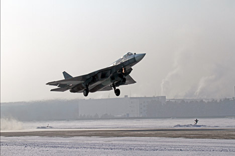A Sukhoi PAK FA (Sukhoi T-50) during a take off, Komsomolsk-on-Amur, Jan. 17, 2013.