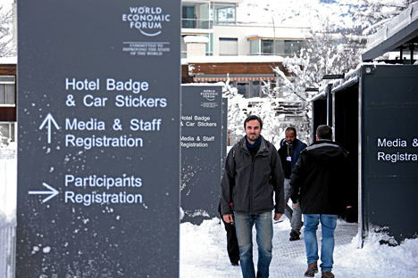The preparation work for the upcoming Annual Meeting 2016 of the World Economic Forum in Davos, Switzerland, January 14, 2016.