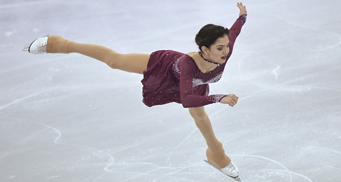 Yevgenia Medvedeva (Russia) performs her short program at the ISU Grand Prix of Figure Skating in Barcelona.