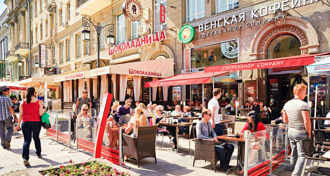 Restaurants and cafes in cental Moscow.