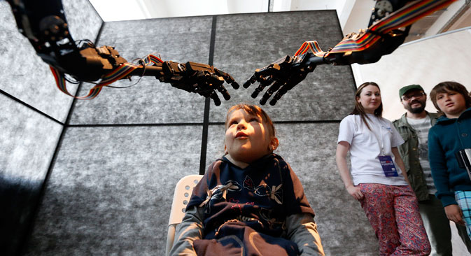"The ""Robot Ball"" scientific exhibition in Moscow, May 17, 2014."