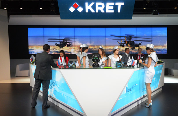 The exhibition stand of the Radio-Electronic Technologies Concern (KRET) at the opening of the MAKS 2015 International Aviation and Space Salon in Zhukovsky near Moscow.