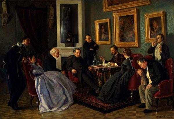 """Lettura letteraria"", 1866. Vladimir Makovskij."