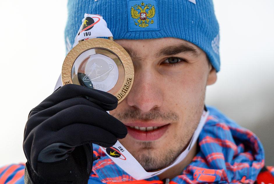 Руският биатлонист Антон Шипулин, спечелил злато на Световното първенство в Италия.