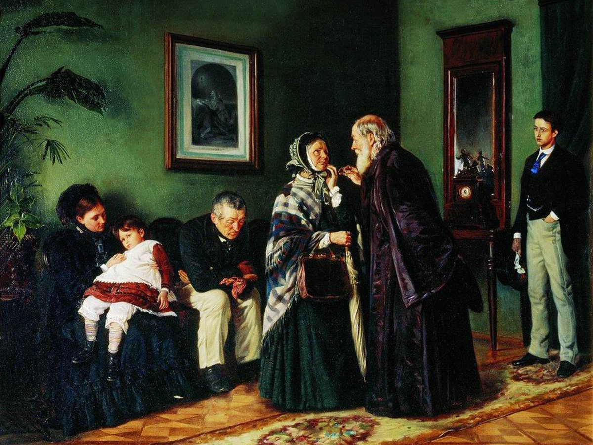 Vladimir Makovsky (26th January, 1846 – 21st February 1920) was a brilliant painter and a true master of genre art. He was born and raised in Moscow in an artistic family. His brother Konstantin Makovsky and father Egor Makovsky were also eminent Russian painters. / The Doctor's Waiting Room, 1870.