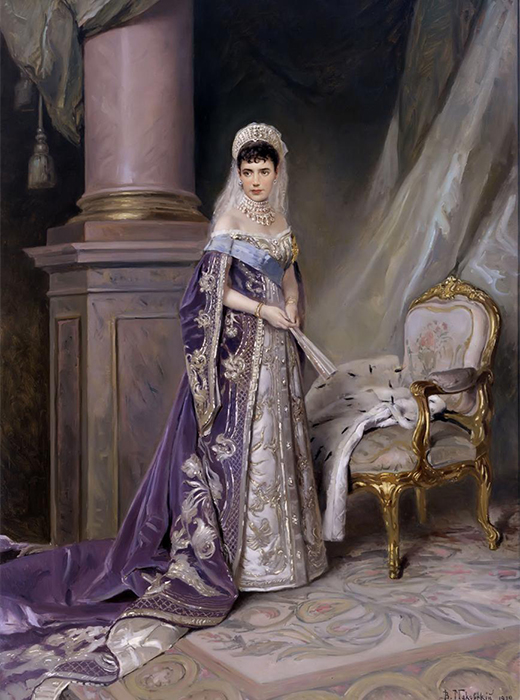 Empress Maria Feodorovna, Gatchina Palace, 1912. Maria Feodorovna (1847 –1928), christened Dagmar, was a Danish princess who became Empress of Russia as the spouse of Emperor Alexander III of Russia.