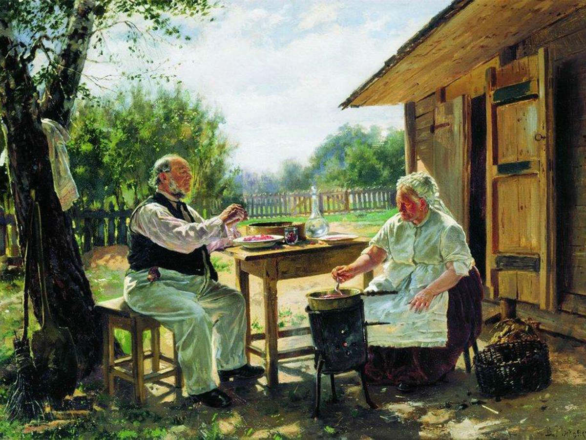 Vladimir Makovsky has his own special style. He pays attention to social scenes, showing detailed ordinary life. / Making Jam, 1876.