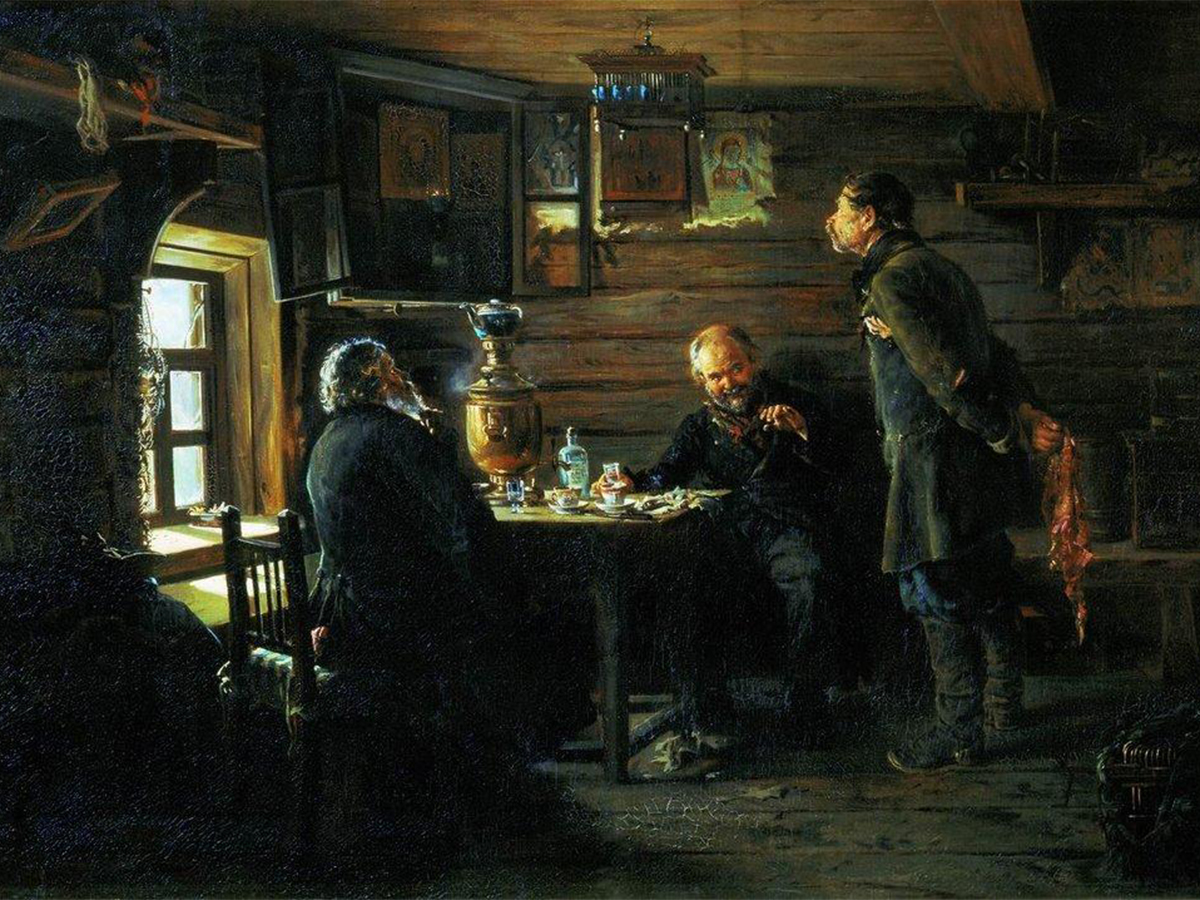 "Fans of Nightingales, 1873. After this work Vladimir Makovsky was honored as a member of the St. Petersburg Academy of Art. Fyodor Dostoevsky was impressed: ""These diminutive paintings, in my view, express love for humanity — not only Russian, but humanity in general."""