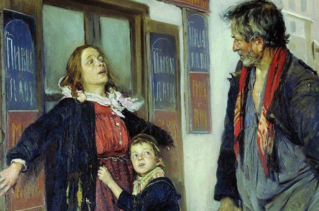 From the late 1880s, Makovsky began to produce gloomier works. / I Won't Let You In, 1892.