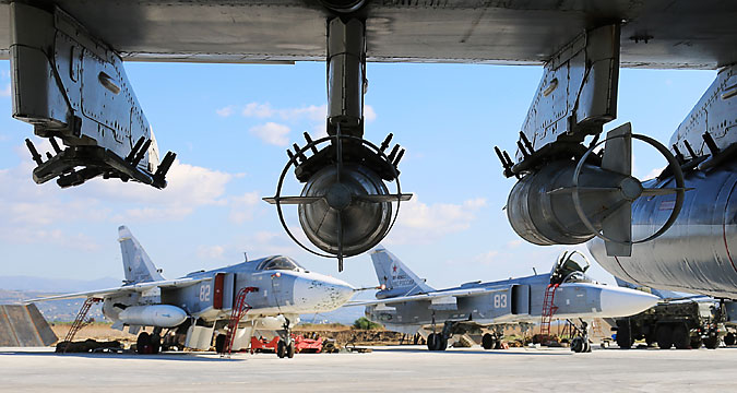LATAKIA, SYRIA. NOVEMBER 19, 2015. Russian Sukhoi Su-24M frontline bombers seen ahead of a flight at the Hmeymim airbase.