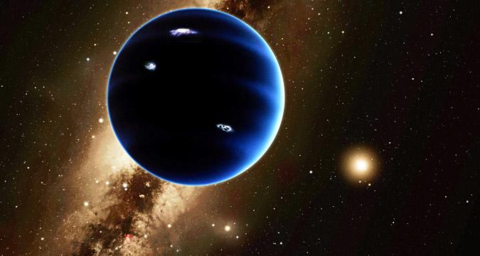 "Render artistik yang disediakan Institut Teknologi California ini menunjukkan pemandangan Planet Kesembilan dari kejauhan yang menghadap ke matahari. Planet ini dianggap bermuatan gas, mirip dengan Uranus dan Neptunus. Dugaan sementara mengatakn petir menerangi sisi malam planet tersebut. Pada 20 Januari 2016, para ilmuwan melaporkan bahwa mereka akhirnya memiliki ""bukti"" terhadap Planet X, sebuah planet kesembilan yang sebenarnya yang berada di pinggiran tata surya kita."