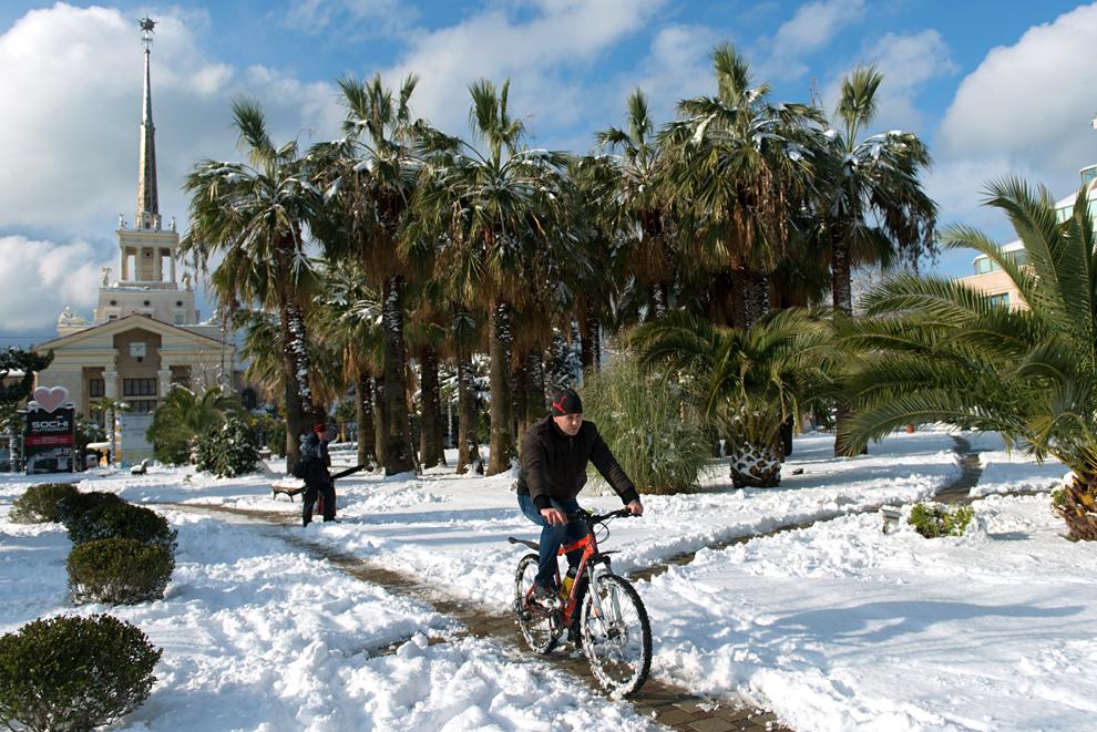 Мъж кара велосипед в парка близо до Морската гара в Сочи.