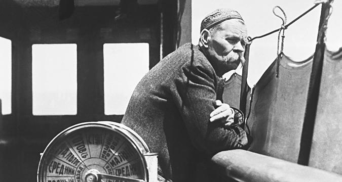 USSR. Soviet writer Maxim Gorky aboard the Jean Jaures motor ship