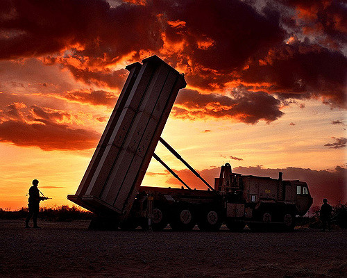 Lockheed Martin's Terminal High Altitude Area Defense (THAAD) system at sunset.