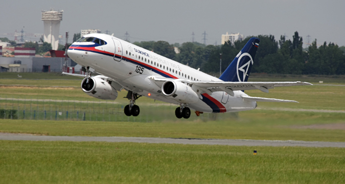 Sukhoi Superjet 100 aircraft on a demonstration flight at the Paris Air Show 2009 in Le Bourget, France.