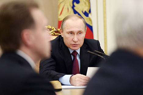 Russia's President Vladimir Putin holds a meeting on the privatization plan, Feb. 1, 2016.