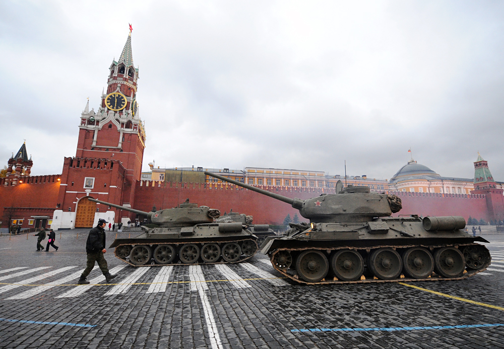 Armored combat vehicles take part in the dress rehearsal of the November 7, 1941 military parade re-enactment in Red Square to mark the 70th anniversary of the historic parade, 2011.