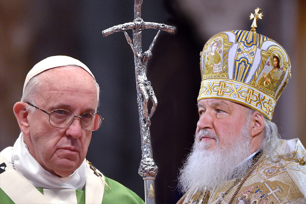 Pope Francis and Patriarch Kirill.