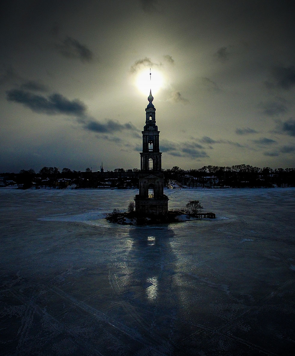 St. Nicholas Cathedral bell tower flooded by Uglich Reservoir