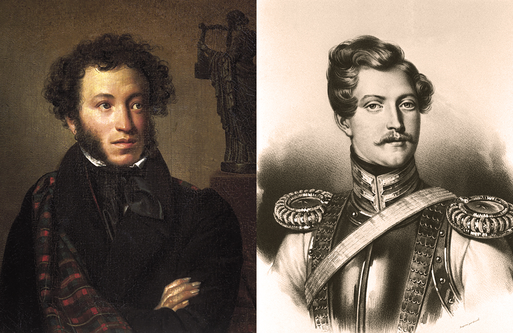 (L) - portrait of Alexander Pushkin (R) - Georges Charles d'Anthes, baron de Heeckeren, Alexander Pushkin's killer. Lithograph. All-Union A.Pushkin Museum in Leningrad (now St. Petersburg)