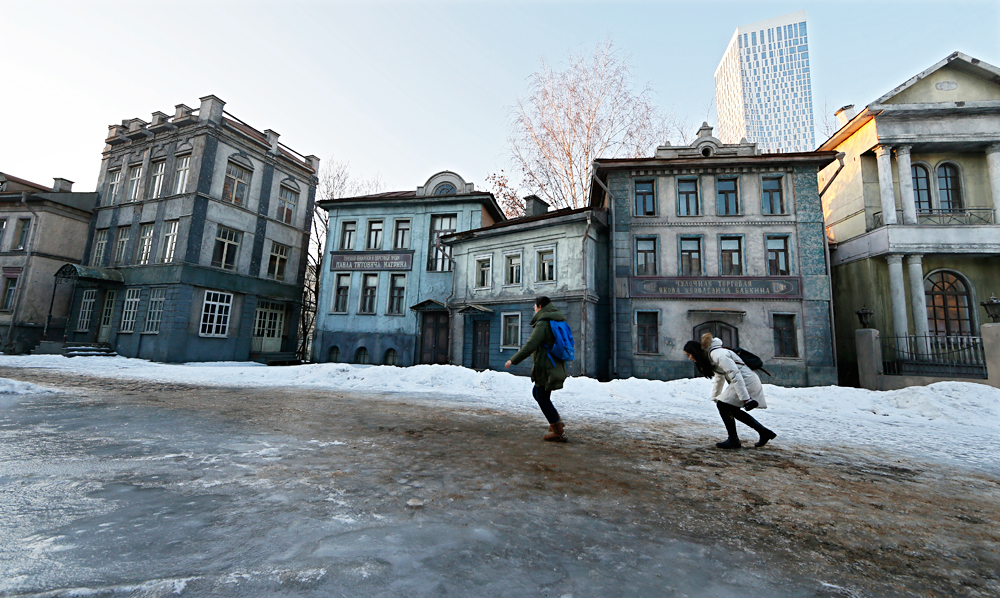 Visitors walk on the artificial scenery by old Moscow where director general of the Mosfilm Studios and famous Russian filmmaker Karen Shakhnazarov will be shoot a new screen adaptation of Leo Tolstoy's novel 'Anna Karenina' on territory of the Mosfilm cinema company in Moscow, Russia, 08 February 2016. Shakhnazarov is planing to release a full-length film and television version consisting of eight series. The script is based on Tolstoy's novel 'Anna Karenina' and Vikenty Veresaev's novella 'In the War'. The screen adaptation stars popular Russian actress Elizaveta Boyarskaya as Anna Karenina. Karen Shakhnazarov is planning to finish the film by the end of 2016.