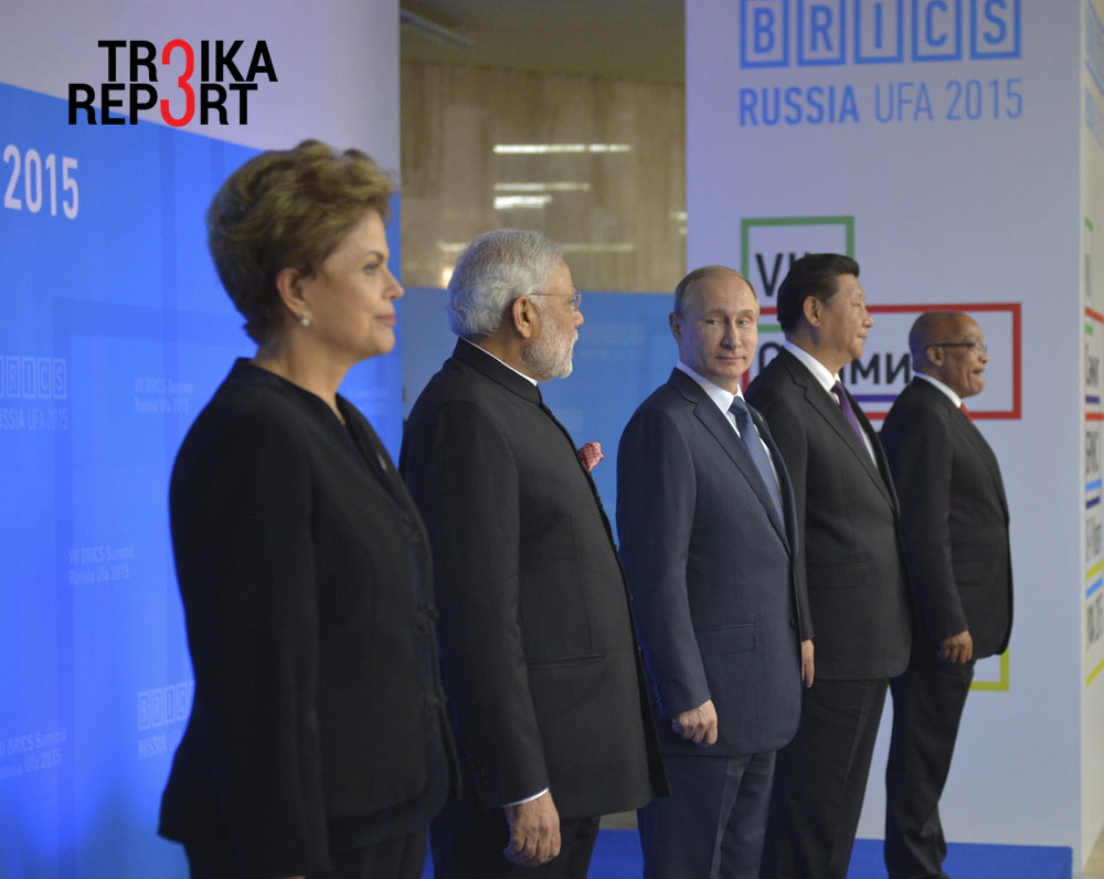 Brazil's President Dilma Rousseff, Indian Prime Minister Narendra Modi, Russian President Vladimir Putin, Chinese President Xi Jinping and South African President Jacob Zuma at the BRICS Summit in Ufa, July 9, 2015.