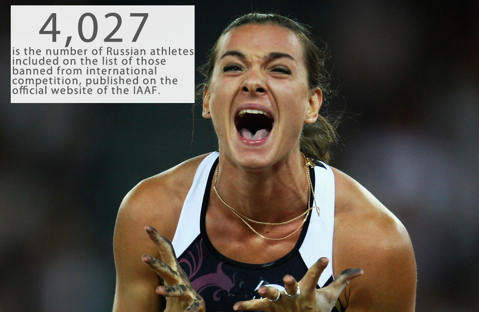 4,027 is the number of Russian athletes included on the list of those banned from international competition, published on the official website of the International Association of Athletics Federation (IAAF) on Feb. 8 .The list is based on data obtained from the World Anti-Doping Agency (WADA) and has no exemptions: Among those excluded from competition are world-famous Olympians such as two-time Olympic gold medalist and three-time world champion Yelena Isinbayeva, who is seen as the greatest female pole-vaulter in history.Background:On Nov. 9, WADA's independent commission presented a report in which it accused the Russian authorities of covering up positive doping tests of athletes.On Nov. 13, following a recommendation from WADA, the Council of the International Association of Athletics Federations (IAAF) decided to suspend Russia from the competitions under its auspices, including the Olympic Games in Rio de Janeiro in 2016.Read more: DiCaprio to play Putin? What if it were the other way around?