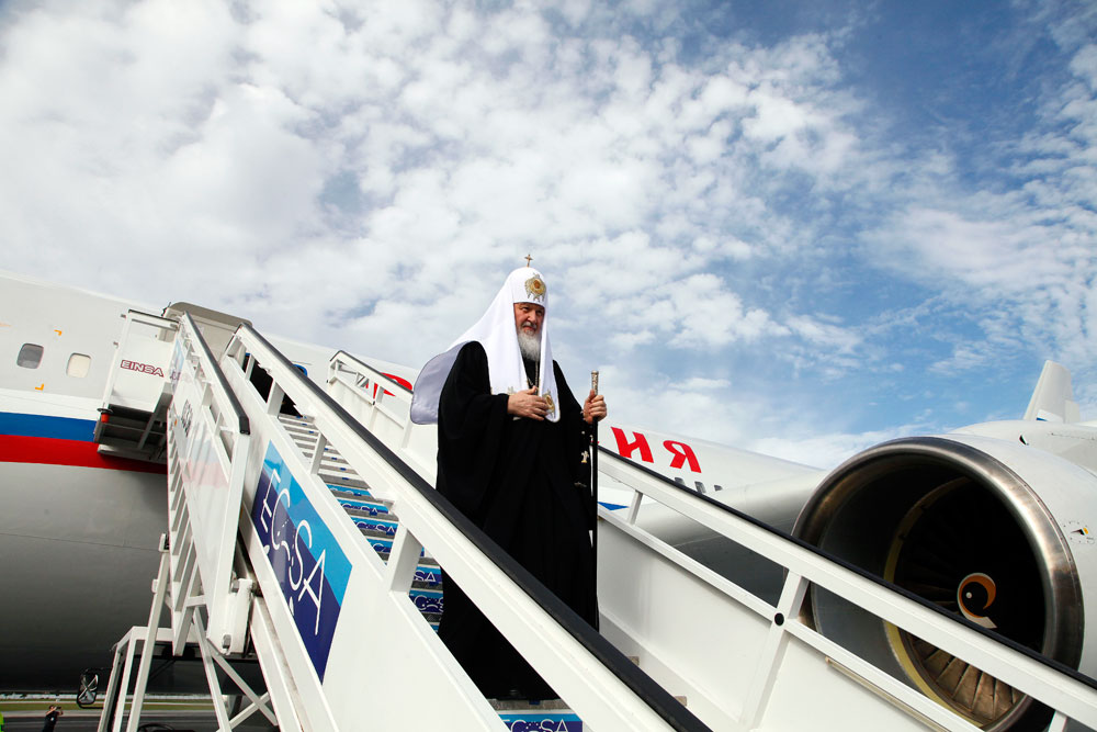 Russian Orthodox Patriarch Kirill exits his plane at the Jose Marti International airport in Havana, Cuba. Kirill is traveling through Latin America, visiting national leaders and the region's small Russian Orthodox communities.